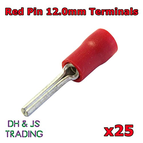 25 x Rood 12.0mm Pin Terminal Connector Kabel Elektrische krimp