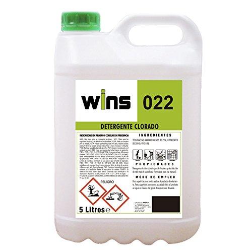 VINFER Detergente alcalino clorado Wins 022. Botella de 5 litros. Limpieza e higiene para Todo Tipo de Superficies