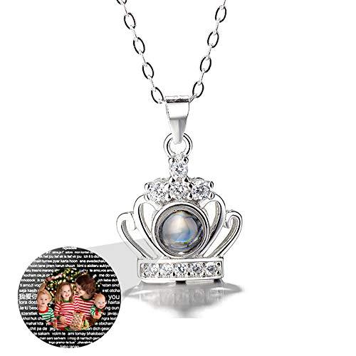 lianhuqujiujunbaih Projektionskette DIY Foto Halskette Krone Halskette 925 Sterling Silber Halskette Weihnachten für Frauen(Silber Vollfarbe 22)