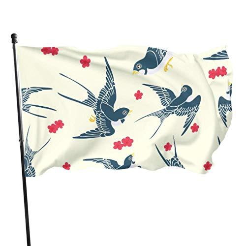 Zemivs Niedliche Schwalbe Vögel und Blumen Flagge Drucken Flagge Schlafzimmer Dekor 3x5 Fuß Lebendige Farben Qualität Polyester und Messing Ösen