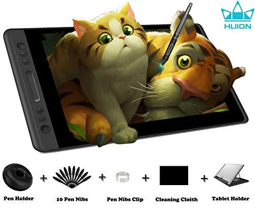 HUION KAMVAS PRO 13 HD 13.3 Zoll Grafiktablett mit Display mit Neigungsfunktion Batterieloser Stift mit 8192 Druckempfindlichkeit und 4 Express Keys 1 Touch Bars Grafiktablett mit Bildschirm