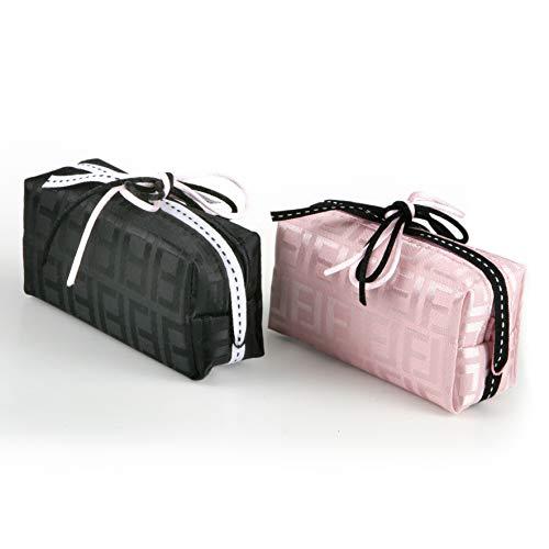 Mopec portemonnee met ritssluiting, gesorteerd, kleur roze en zwart, versierd met linten, 2 stuks, stof, 4.00 x 10.50 x 7.00 cm,