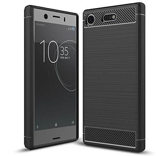 NALIA Funda Carbono Compatible con Sony Xperia XZ1 Compact, Protectora Movil Carcasa Cobertura Silicona Ultra-Fina Gel Bumper Estuche, Goma Telefono Cubierta Delgado Cover Smart-Phone Case - Negro