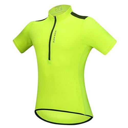 Maglia a Manica Corta Compressione Leggero Sport Asciugatura Rapida T-Shirt di Ciclismo - Verde Fluo, M