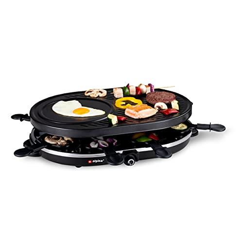 alpina Raclette Steingrill - 8 Pfannen - 8 Spatel - 1200-1400 Watt - Thermostat Gourmet-Set Backblech (RACLETTE-GRILL | OVAL)