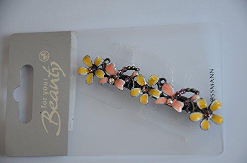 Haarschmuck - elegante Haarspange Farbe: Gelb / Rosa Blumen mit Glitzersteine Inhalt: 1 Stück Haarspange - Haarschmuck