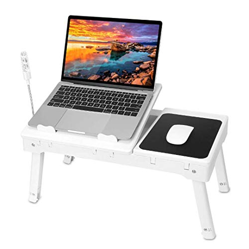 iMountek Laptop Table Bed Notebook Desk-Multi-Functional Laptop Bed Table Tray with Internal Cooling Fan, Laptop Desks with LED Light, 4 USB Ports, Storage, Mouse Pad