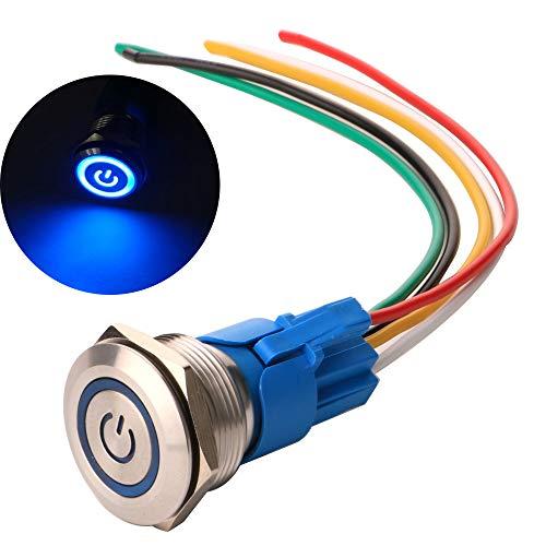 Gebildet 22mm Edelstahl Latching Drucktastenschalter 12V-24V 5A Power Symbol LED 1NO1NC SPDT ON Off Wasserdichter Kippschalter mit Steckdose Stecker (Blau LED)