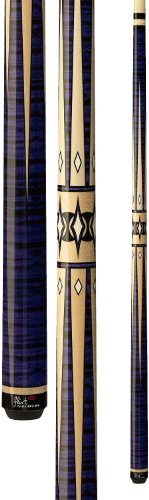 Players Flirt F-2610 Graphic Maple/Purple Tiger-Stripe with Black and Cream Points Pool Cue, 19-Ounce