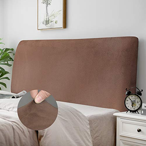 "DUJUIKE Bed Headboard Slipcover, Stretch Bed Headboard Cover, Dustproof Protector Cover for Linen Fabric Tufted Upholstered Headboard (Brown, Full Headboard Length (47""-55""))"