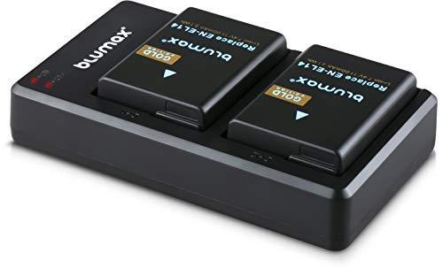 Blumax 2 x Gold Akku ersetzt Nikon EN-EL14 / EN-EL14a 1100mAh + Dual-Ladegerät   kompatibel mit Nikon D3100 D3200 D3300 D3400 D5100 D5200 D5300 D5500 Coolpix P7800 P7700 P7100 P7000