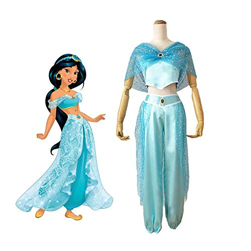 CGBF - Disfraz de princesa de jazmn para Halloween, disfraz de Aladdin, disfraz de danza del vientre, azul, M