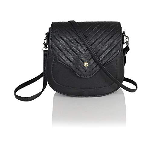 Chic Mini Herringbone Vegan Leather Saddle Bag, Boho Chevron Crossbody Swing Purse with Adjustable Long Strap (Black)