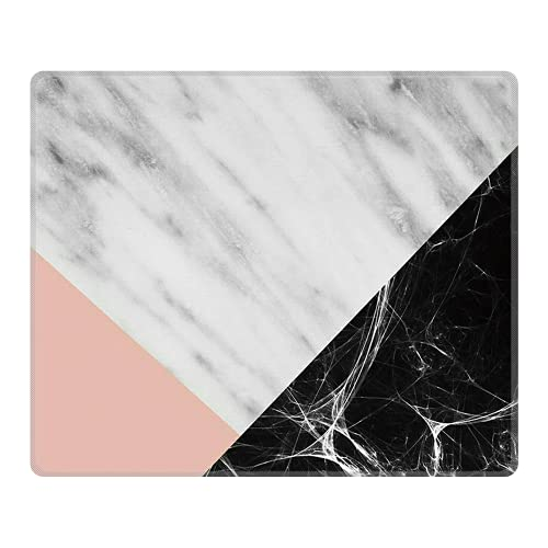Personalized Rectangle Mouse Pad, Printed Cute Black Marble Pattern, Non-Slip Rubber Comfortable Customized Computer Mouse Pad (9.45x7.87inch)