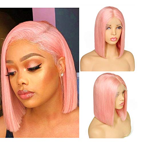 Loviness Short Bob Wig Pink Human Hair Wigs 8 10 12 14 Middle Part Lace Front Silky Straight Hair Wigs 180% Density 13X4 Frontal Pre Plucked(8 inches)