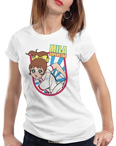 A.N.T. Mila Volleyball Damen T-Shirt Anime Manga Team Japan, Farbe:Weiß, Größe:M