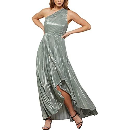 BCBGMAXAZRIA Damen One Shoulder High Low Eve Long Dress Kleid, Metallic Haze, Klein