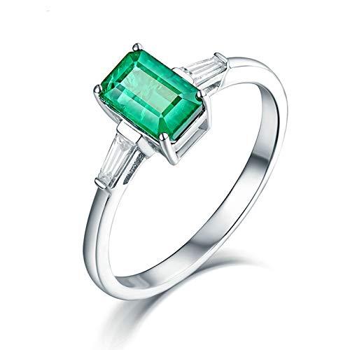 Daesar Anillo Mujer Oro Blanco 18K,Rectángulo Esmeralda Verde 0.84ct Diamante 0.2ct,Plata Verde Talla 21