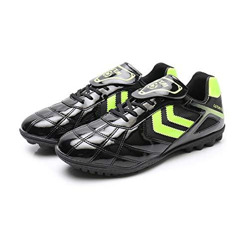 LCHENX-Zapatos de Fútbol Transpirables Resistentes Al Desgaste para Adolescentes Zapatillas de Fútbol para Interiores y Exteriores Antideslizantes para Césped Unisexo,Negro,38 EU