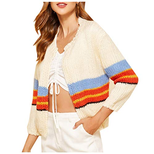 Eaylis Strickwaren Swatshirt Frauen Farbe Gestreifter Pullover Strickwaren Farbe: Beige GrößE: S/M/L