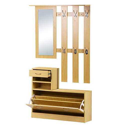 Homcom Garderobekast met spiegel, verstelbaar, van hout