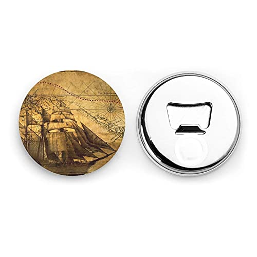 Nautical Sailing Pirate Theme Round Bottle Openers/Fridge Magnets Stainless Steel Corkscrew Magnetic Sticker 2 Pcs