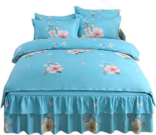 Falda de cama Conjunto de 4 piezas Falda de volantes Conjunto de lecho doble cubierta cubierta de cubierta de cama lavada, suave y transpirable resistente a la decoloración B, 1.5m Falda de cama