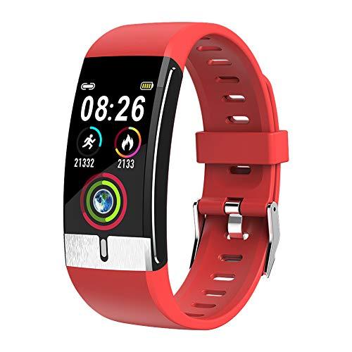 Sock Fitness Armband mit Temperaturmessung Smartwatch Fitness Tracker mit Pulsmesser Wasserdicht IP68 Fitness Uhr Blutdruck Messgeräte Pulsuhr Schrittzähler Uhr,Rot