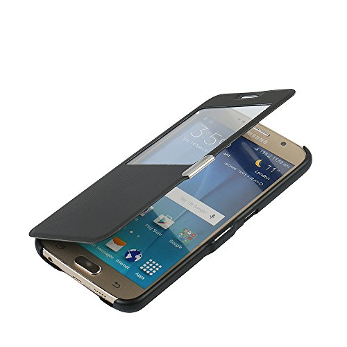 S6 Case, Galaxy S6 Case, MTRONX Window View Magnetic Closure Twill PU Leather Ultra Folio Flip Slim Case Cover for Samsung Galaxy S6 - Black(MG1-BK)