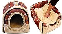 屋内子猫ミディアム猫のために1つのペットベッド洞窟付きぬいぐるみハンドルでポータブル2、折り畳み式の冬のソフトコージー寝袋マットパッドクッション (色 : Red, サイズ : XL(60x48x42cm))