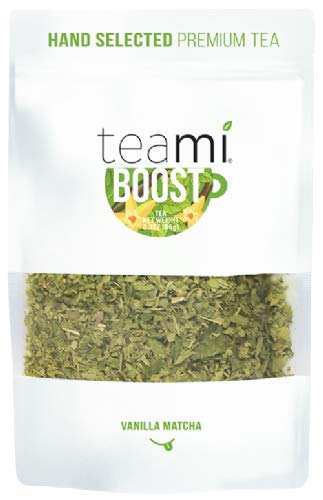 Teami Boost Matcha Green Tea - 30 Servings of Loose Leaf Mint Blend with Matcha Powder, Yerba Mate, Peppermint Leaves, and Vanilla Beans