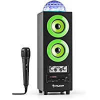 AUNA DiscoStar Green - Altavoces Bluetooth 2.1 , Luces LED , Radio FM , MP3 , SD , USB , Mini USB , AUX , Micrófono , Control de Volumen , Mando a Distancia , Asas , Batería , Portátil , Verde