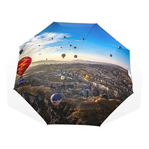 LUPINZ - Paraguas de golf con globo de aire caliente en Turquía, tamaño compacto de viaje, con protección solar