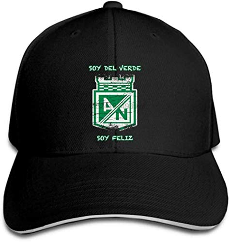 YYTTLL Gorras de béisbol al Aire Libre para Hombres Gorra de béisbol Atlético Nacional Colombia Camiseta desgastada Jersey Negro Blanco Colores Sombrero Informal Gorra con Visera