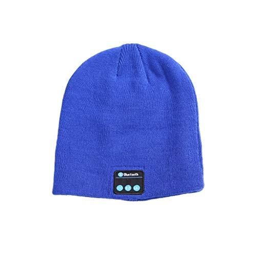 Gaddrt Bluetooth-Kopfhörer Bluetooth-Musikhut mit Stereo-Kopfhörer-Headset Drahtlose warme Mütze 23×20cm (Blau)