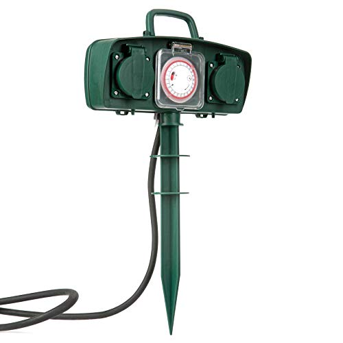 KF Gartensteckdose 2-fach Steckdosenblock mit Zeitschaltuhr Spritzwasserschutz IP44 Wasserfeste Außensteckdose mit Gummi Kabel 1.5m H07RN-F 3 * 1.5 ㎜² Grün