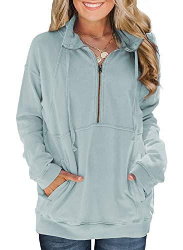 Diukia Women's Athletic Half Zip Pullover Oversized Long Sleeve Zipper Collar Sweatshirt Lightweight Solid Color Pocket Pullover Tops for Teen Girls Juniors Ladies Green L