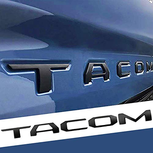 Auto safety Tailgate Insert Letters for Taco 2016 2017 2018 2019 2020 2021 3D Raised Zinc Alloy Rear Emblem Decals with 3M Adhesive-Matte Black