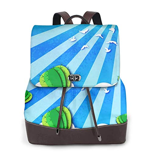 SGSKJ Rucksack Damen Kaktussaft 131, Leder Rucksack Damen 13 Inch Laptop Rucksack Frauen Leder Schultasche Casual Daypack Schulrucksäcke Tasche Schulranzen