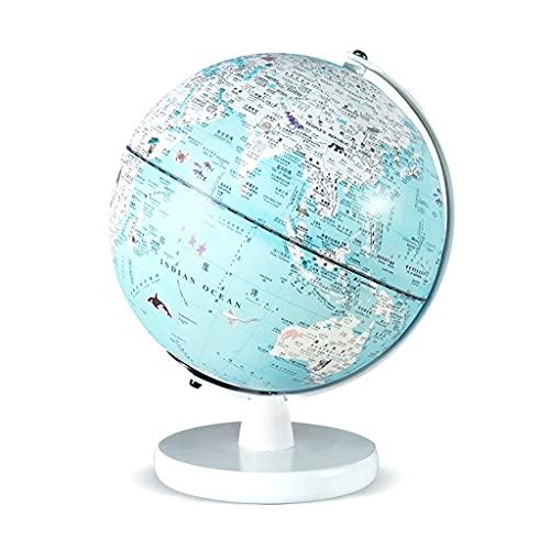 Mappamondo Globo del Mondo di Piccole Dimensioni 8 Pollici - Globo del Mondo Illuminato Carino con Supporto in Legno Geographic World Globi geografici (Color : Blue)