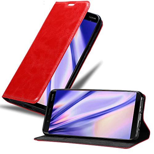 Cadorabo Hülle für Nokia 8 Sirocco in Apfel ROT - Handyhülle mit Magnetverschluss, Standfunktion & Kartenfach - Hülle Cover Schutzhülle Etui Tasche Book Klapp Style