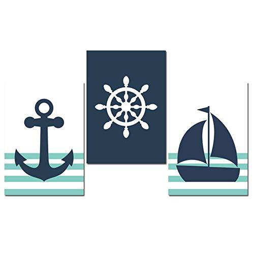 BICHENGGONGFBH Quadro su Tela Icona di Navigazione Barca a Vela Cartone Animato Stampa Poster Decorativi Decorazioni murali 60x80cm Senza Cornice Blu