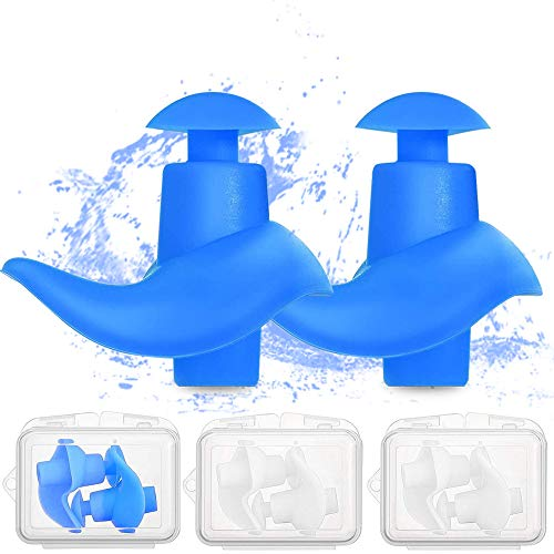 Swimming Earplugs 4 Pairs - Waterproof Reusable Silicone Swimming Ear Plugs for Swimming Showering Bathing Surfing Snorkeling and Other Water Sports