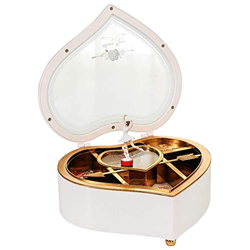 lefeindgdi Caja de música para joyas, diseño de bailarina de San Valentín, color blanco, con forma de corazón, giratorio, magnética, extraíble, caja de joyería de moda, regalo