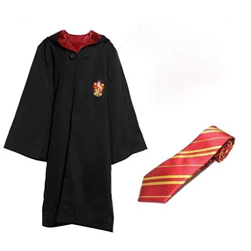 Zauberer Robe mit Wappen und Schlips für Erwachsene Umhang Mantel Herren-Kostüm, Größe:S