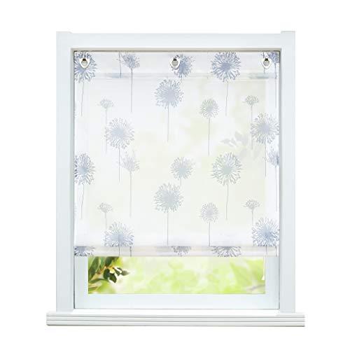 ESLIR Estor sin agujeros, cortina transparente con ojales, cortina con ganchos en U, estor moderno blanco con diseño de diente de león, 60 x 140 cm, 1 pieza