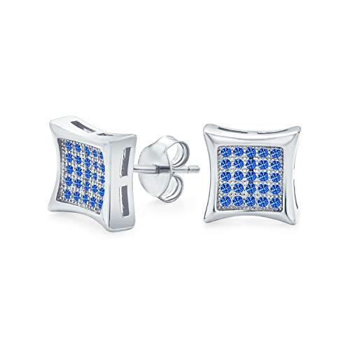 Hombres Mujeres En forma cuadrada cúbica Zirconia Micro Pave Azul Simulado Zafiro Kite Stud Pendientes 925 Plata esterlina 7MM