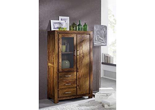 MASSIVMOEBEL24.DE Massivmöbel Sheesham Holz massiv Life Honey Highboard Massivholz Palisander lackiert Möbel Metro Life #108