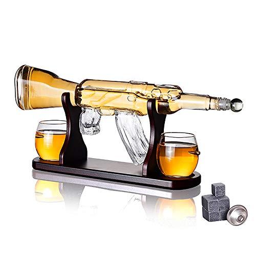 Grande Decantador De Pistola Set De Gafas De Bala - 800 Ml Edición Limitada Rifle Elegante Jarra De Whisky Gun Con 2 Vasos De Whisky Bullet Y Base De Madera - Gran Regalo