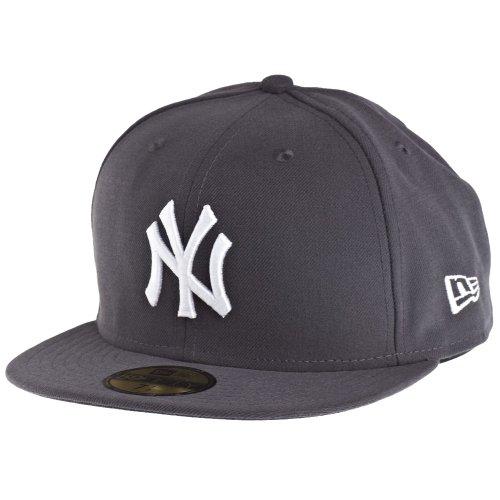 New Era Erwachsene Baseball Cap Mütze MLB Basic NY Yankees 59 Fifty Fitted, Graphite/Weiss, 7 1/4 (57.7 cm)